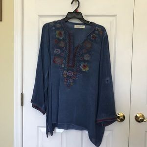 Blue blouse with stitch work!
